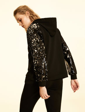 Cotton sweatshirt with sequins