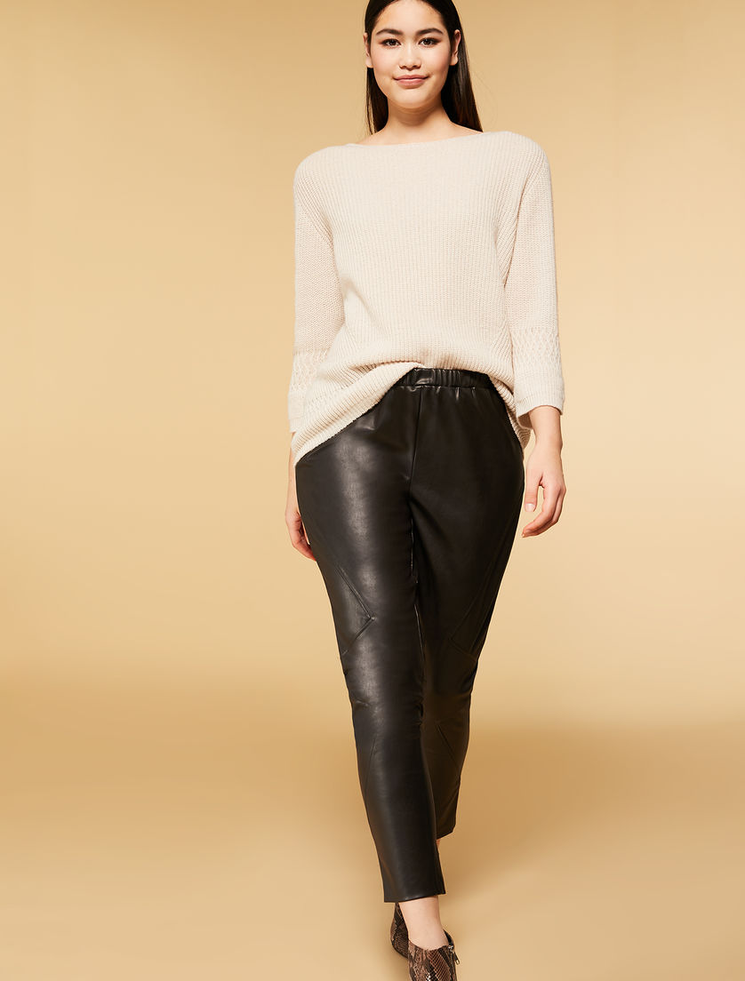 Coated effect trousers