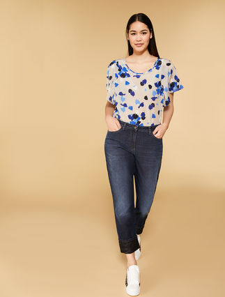 Stretch denim and lace jeans