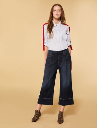 Stretch denim cropped jeans