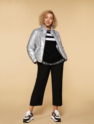 Down jacket in metal fabric