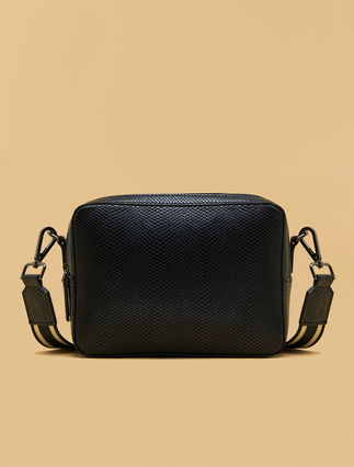 Reptile-effect shoulder bag