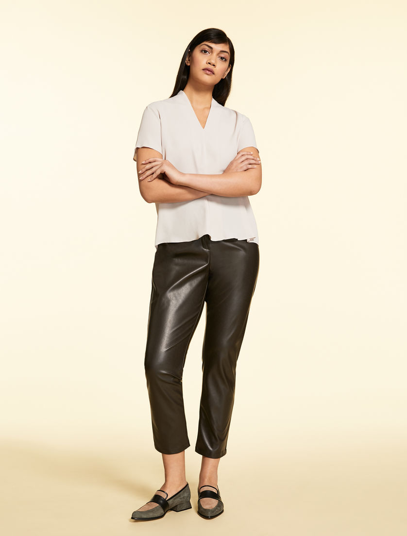 Trousers in stretch nappa leather