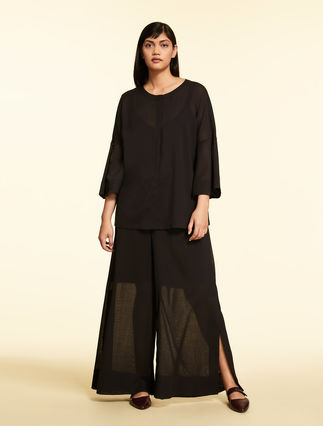 Wool gauze trousers