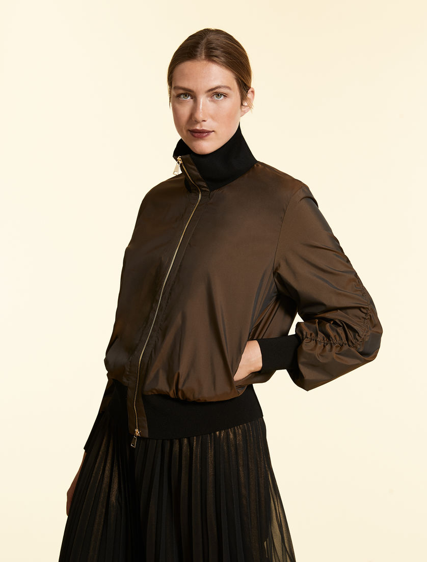 Bomber jacket in polished taffeta