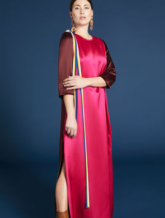 Mixed silk satin dress