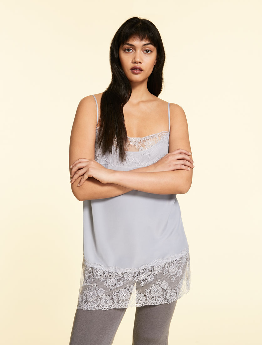 Top in crêpe de chine and lace