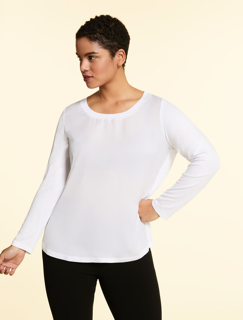Jersey and satin T-shirt