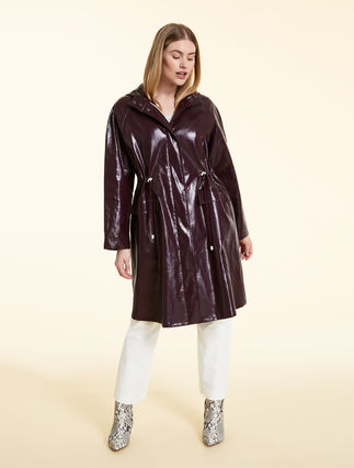 Coated linen raincoat