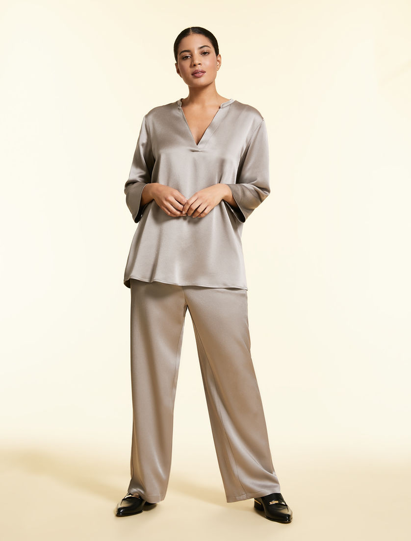Satin sablé trousers