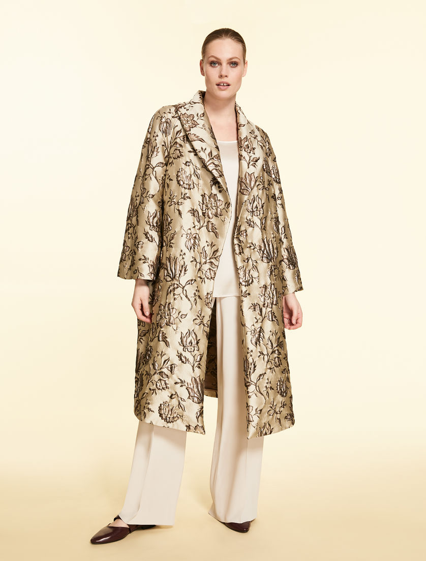 Lurex brocade duster coat