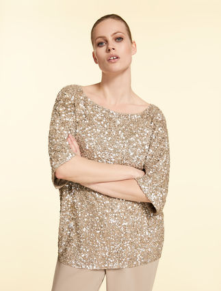 Tulle tunic with sequins