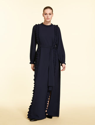 Langes Kleid aus leichtem Crêpe