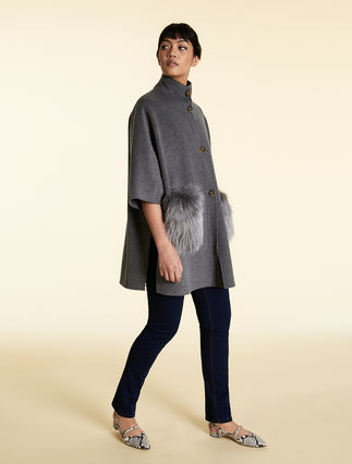Double-layer wool blend cape