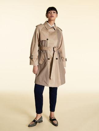 Gabardine and taffeta trench coat