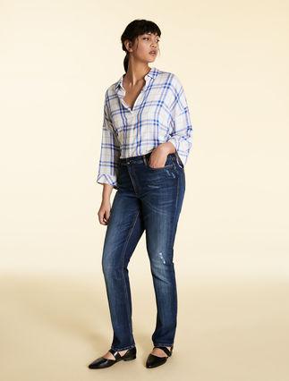 Jeans aus Satin-Stretchdenim