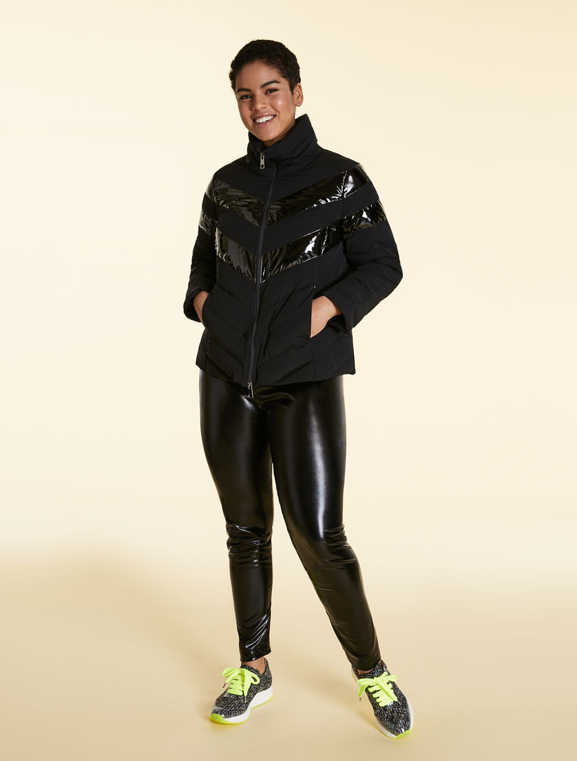 Nylon and lacquer down jacket