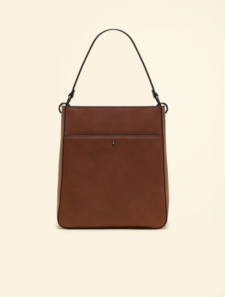 Faux-leather shopper