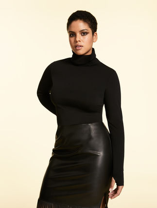 Cropped polo neck jumper in jersey