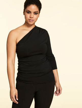 One-shoulder top in jersey