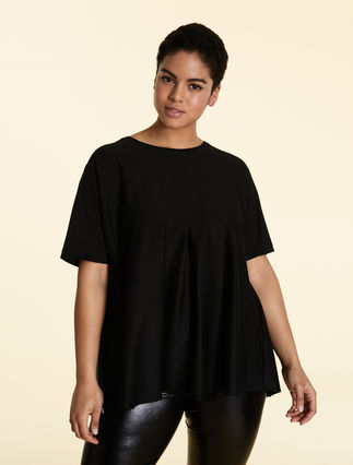 Pleated cotton T-shirt