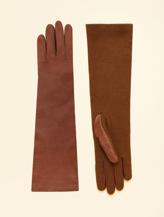Nappa leather and knit gloves