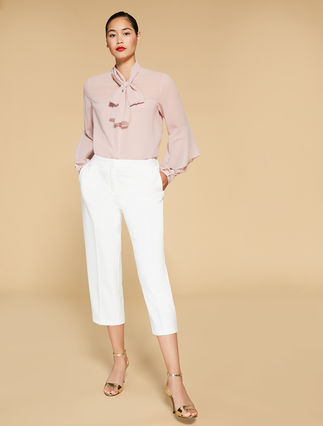 Trousers in stretch scuba fabric