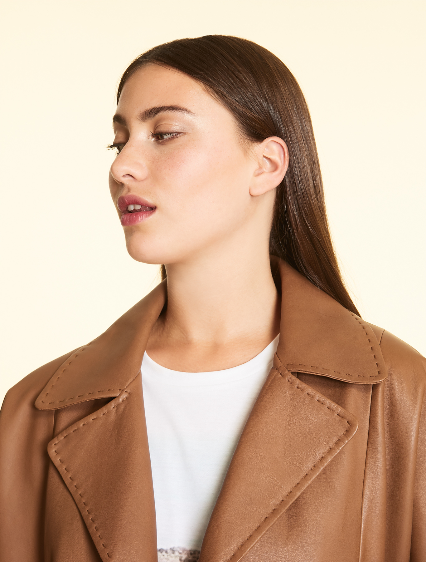 Matt nappa leather jacket, brown Marina Rinaldi