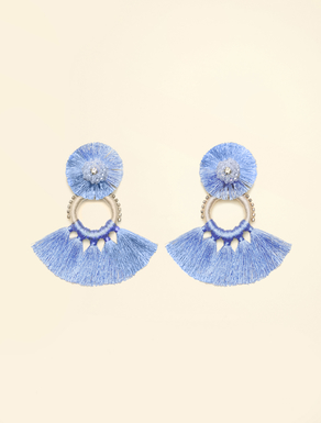Thread earrings with rhinestones