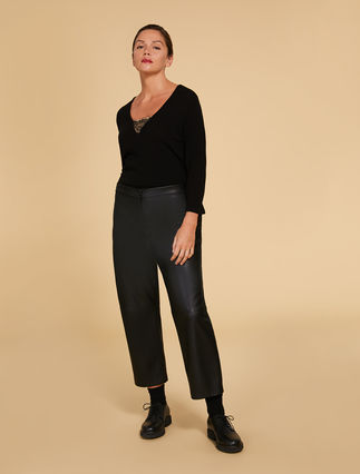 Coated-effect trousers