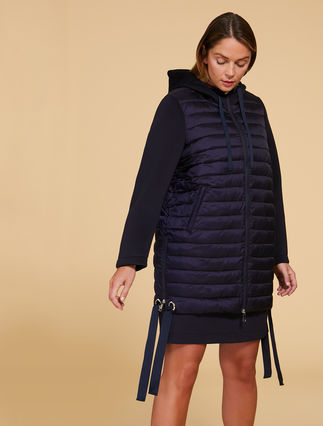 Nylon and jersey down jacket
