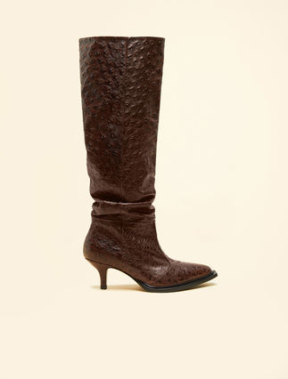 Printed leather boot