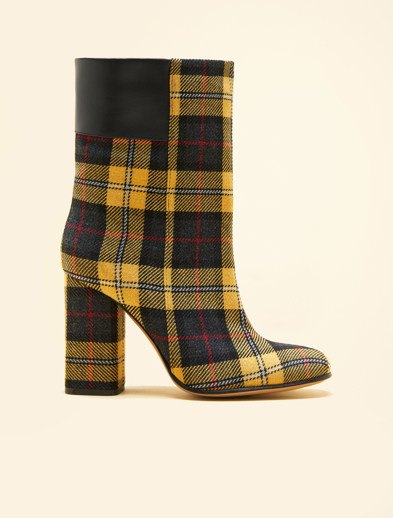 Tartan and leather ankle boots, yellow