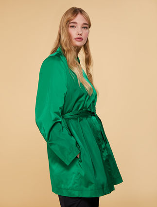 Couture satin raincoat