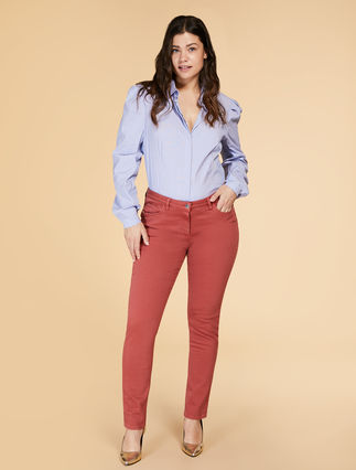 Shaping-fit diagonal stretch trousers